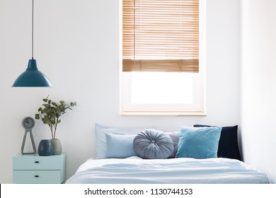 Lamp above blue cabinet with plant next to bed in simple bedroom interior with window. Real photo
