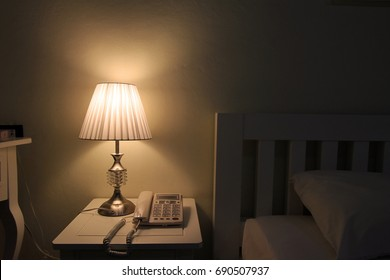 lamp in bedroom at night