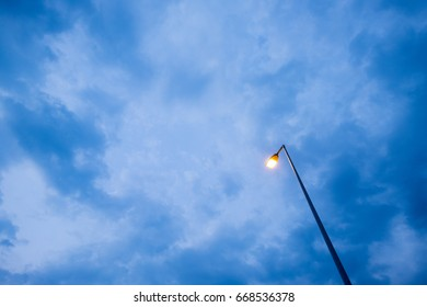 A lamp from below on blue hour