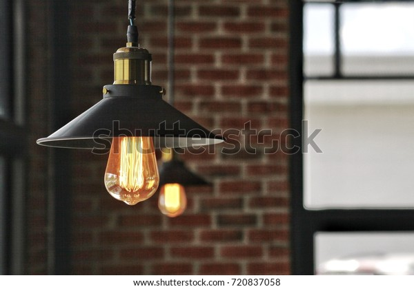 lamp with brick wall background,modern interior design