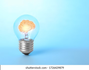 Lamp bulb with human brain inside on blue background, space for text. Idea generation