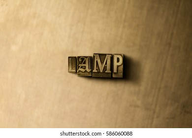 LAMP - close-up of grungy vintage typeset word on metal backdrop. Royalty free stock illustration.  Can be used for online banner ads and direct mail.