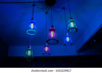 lamp colorful in the decoration in dark night room