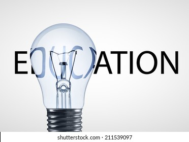 lamp and educations text  on a white background