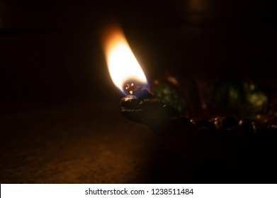 Lamp  with fire on Karthigai Deepam