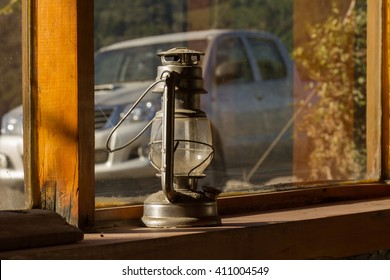 A lamp lit by the afternoon sun