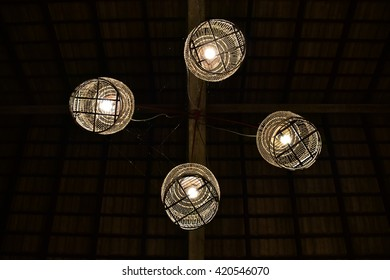 The lamp is made of bird cages.The idea is a mix of local identity.Which is found in the south of Thailand.