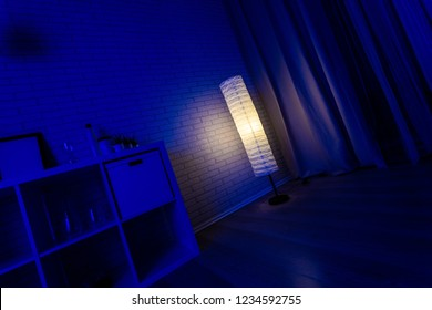 Lamp in the night home interior