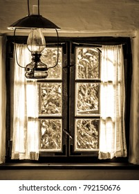 lamp and an old window