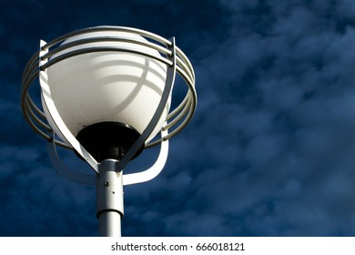 the lamp on the background of bright blue sky