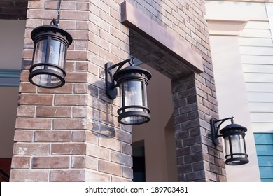 Lamp on brick