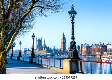 Lamp on South Bank of River Thames with Big Ben and Palace of Westminster in Background, London, England, UK