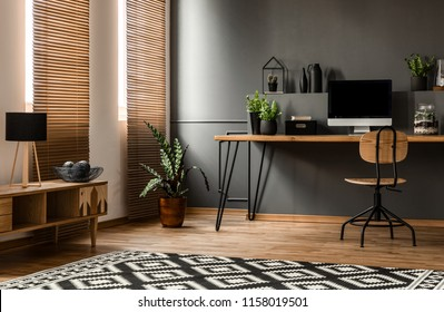 Lamp on wooden cupboard near plant and desk with computer monitor in dark grey workspace interior