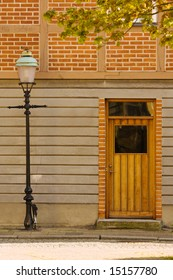 Lamp post and door of an historic building