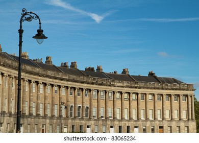 Lamp post and Georgian houses in Royal Crescent, Bath, England