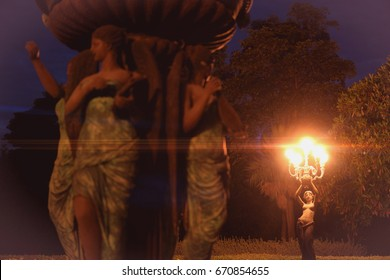 Lamp post woman statue at night and flare of light / Vintage look