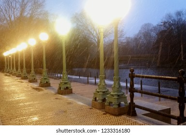 Lamp posts at dusk at rainy Prospect Park Boathouse and Audubon Center in Brooklyn New York