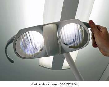 lamp with a powerful light in a dental office