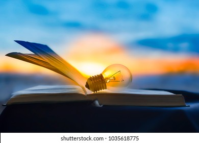the lamp rests on an open book, knowledge is light