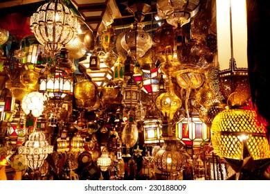 Lamp Shop In Moroccan Market