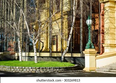 Lamp and silver birch trees with building reflected in windows, Launceston, Tasmania, Australia