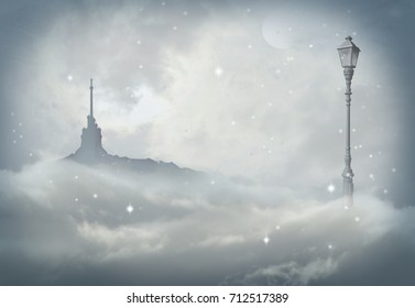 lamp in snow with palace in background
