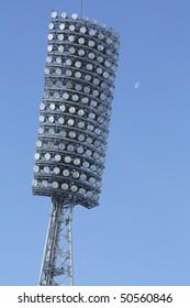 Lamp stadium on a clear blue sky