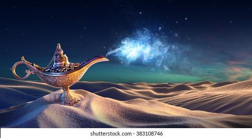 Lampe de voeux dans le désert - Génie sortant de la bouteille