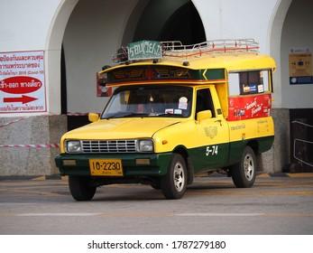 Lampang / Thailand - 26 Jul 2020. Minibuses stop in front of Lampang Railway Station, Lampang Province, Thailand.