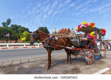 Lampang Thailand - April 12, 2016 :  Landau Lampang Lampang is the only province in Thailand with Wat pra that Lampang Luang. Lanna style Buddhist temple background This is a tourist attraction.