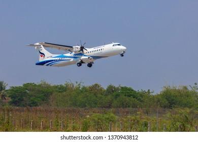 LAMPANG THAILAND - April 2019,15  ATR72-600 (HS-PZN)  of Bangkokairway flight PG208  Take off from Lampang Airport .