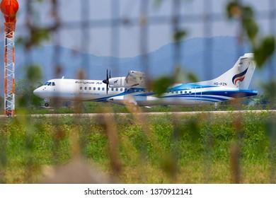 LAMPANG THAILAND - April 2019,15  HS-PZN ATR72-600 of Bangkokairway was Landing on Lampang Airport .