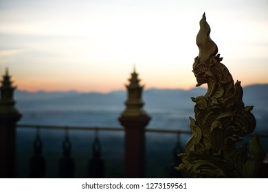 """Lampang, Thailand - Dec 23, 2018 : The pictures of Stucco art in a temple called """"Wat Doi Prachan"""". Which capture by thus manual or CCTV lens thus making the image unclear but still keep all  feeling."""