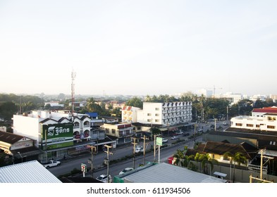 LAMPANG, THAILAND - DECEMBER 27 : Landscape and cityscape with traffic road of Lampang city in morning time on December 27, 2016 in Lampang, Thailand