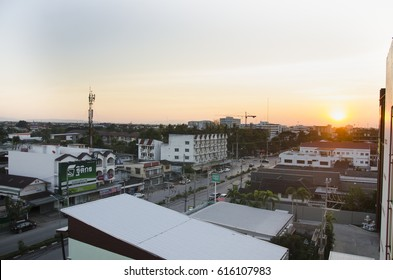 LAMPANG, THAILAND - DECEMBER 28 : Landscape and cityscape with traffic road of Lampang city in morning time on December 28, 2016 in Lampang, Thailand