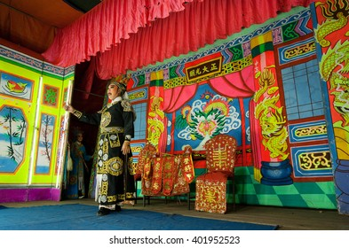 LAMPANG, THAILAND - FEB 18: Actor of the chinese opera  performing the folk story in old tradition of theater on February 18, 2016. Population of Lampang is near 59,000 people