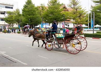 Lampang, Thailand  -  February 2,  2017 :  Landau Lampang. Lampang is the only province in Thailand  that still use horse-drawn carriage ride to the city. Within the city, it is a tourist attraction.