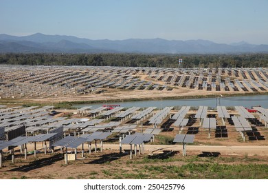 Lampang - THAILAND - JANUARY 29 : Landscape of solar farm under-construction at Hangchat solar farm on Jan 29, 2015 in Lampang province, Thailand