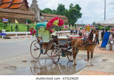 Lampang, Thailand - July 1, 2017 : Lampang is the only province in Thailand that still uses horse-drawn carriages to ride to the city.