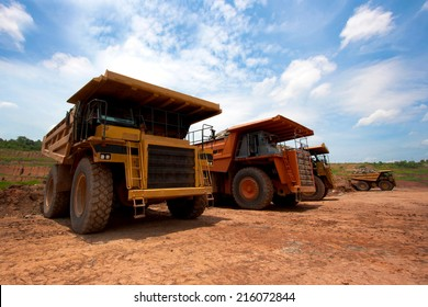 LAMPANG, THAILAND - JUNE 26: coal-preparation plant. Big yellow mining truck at work site coal transportation, June, 26, 2014 in Lampang, Thailand