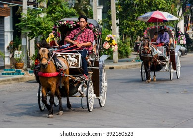 Lampang, Thailand  -  March 11,  2016 :  Landau Lampang. Lampang is the only province in Thailand  that still use horse-drawn carriage ride to the city. Within the city, it is a tourist attraction.
