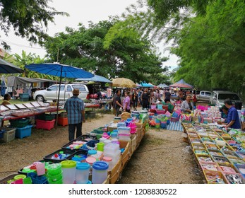 Lampang,Thailand - 20 October 2018 : People at the local Thai Market in Lampang province Thailand.