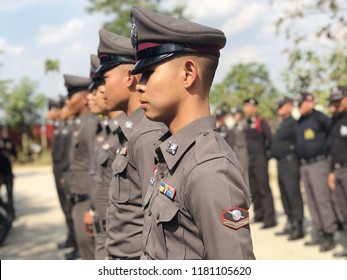 Lampang,Thailand -  February,1,2018:Many new Thai police officers surf the police ideals on the day of the ceremony at the police station.