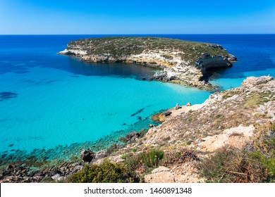 "Lampedusa Island Sicily - Rabbit Beach and Rabbit Island Lampedusa ""Spiaggia dei Conigli"" with turquoise water and white sand at paradise beach. Mediterranean scrub with thyme and cardoon. Tabaccara"