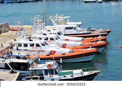 Lampedusa, Italy, agosto/25/2011, view of Lampedusa harbor, cost guard boat for migrates patrol