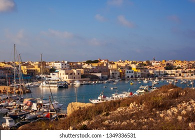 LAMPEDUSA, ITALY - AUGUST, 01: View of the Lampedusa old port on August 01, 2018