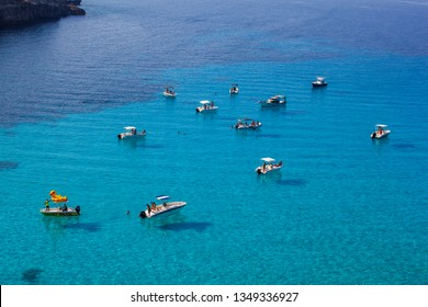 LAMPEDUSA, ITALY - AUGUST, 01: View of Tabaccara famous sea place of Lampedusa on August 01, 2018