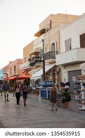 LAMPEDUSA, ITALY - AUGUST, 03: View of Lampedusa street, Sicilian island in the middle of the mediterranean sea on August 03, 2018