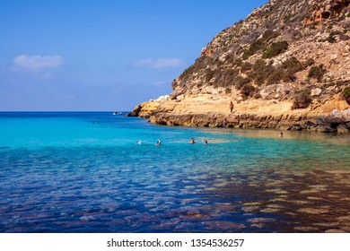 LAMPEDUSA, ITALY - AUGUST, 03: View of Cala Pulcino famous sea place of Lampedusa on August 03, 2018