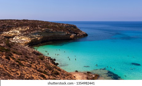 LAMPEDUSA, ITALY - AUGUST, 03: View of the Lampedusa sea on August 03, 2018